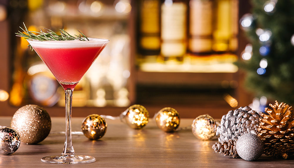 Cocktail and holiday decorations
